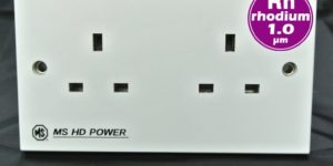 MS HD Power MS-9296Rh Rhodium UK Wall Socket – 2 Gang